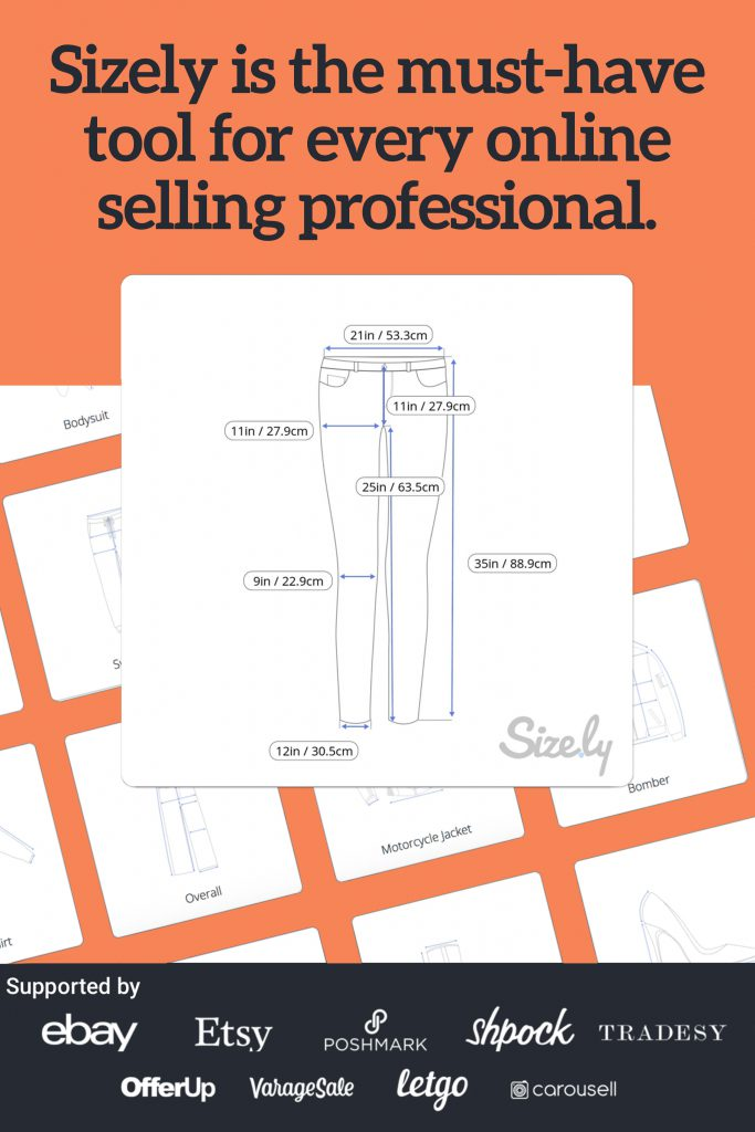 Sizely is an online selling tool that lets you add clothing measurements in your listings as photos.